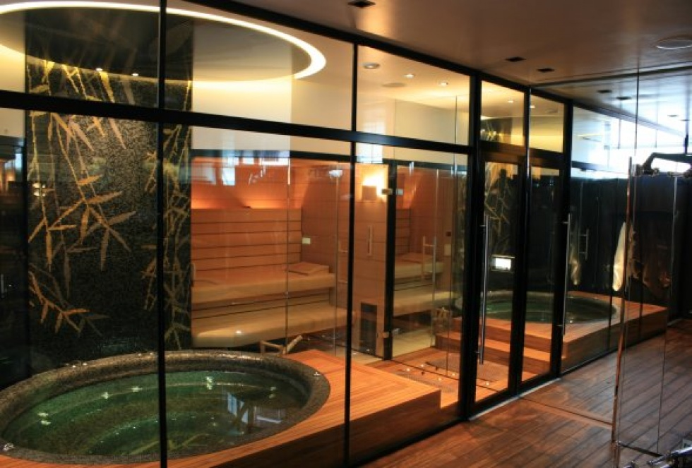 Indoor swimming pool design showcase lspc for Building a sauna in the basement