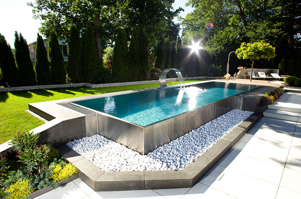 Stainless steel swimming pool design showcase lspc for Private pool design