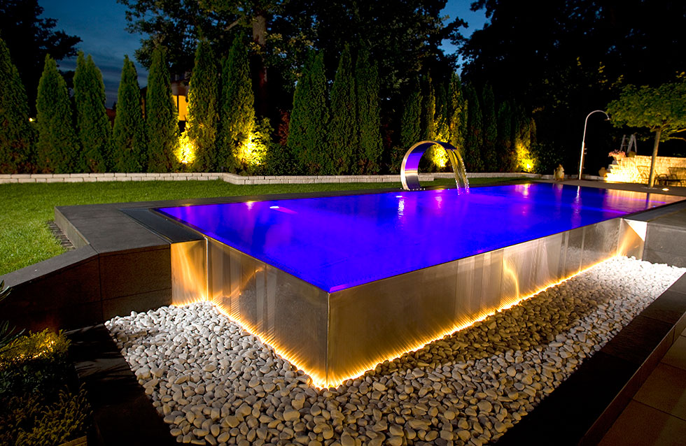 Stainless steel swimming pool design showcase lspc for How to design a pool